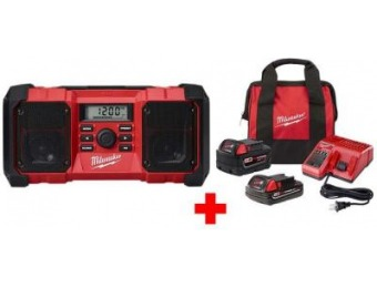 $132 off Milwaukee M18 Lithium-Ion Jobsite Radio with M18 Starter Kit