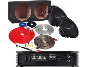 "$80 off Kenwood 500W Class D Amp, Two 12"" Subwoofers Package"