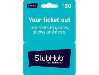 $5 off $50 StubHub Gift Card