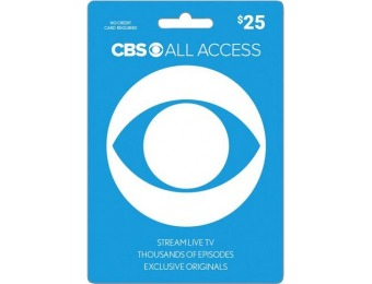 10% off CBS All Access $25 Gift Card