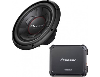 "$160 off Pioneer 1600W Class D Mono Amplifier and 12"" Subwoofer"