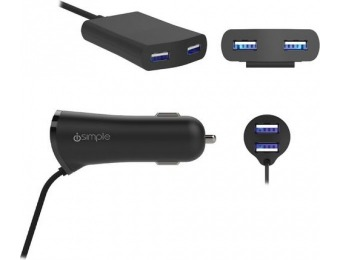 43% off iSimple 4 USB Port Car Power Adapter
