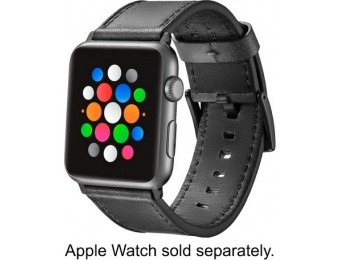 50% off Platinum Leather Apple Watch 42/44mm Strap - Black