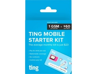 Ting - GSM Sim Card Kit for Unlocked Phone with $60 Service Credit