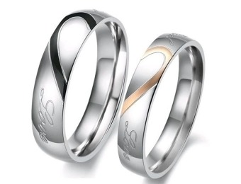 "89% off Lover's Heart Shape ""Real Love"" Wedding Band Set"