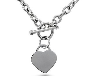 54% off Stainless Steel Heart Tag Necklace