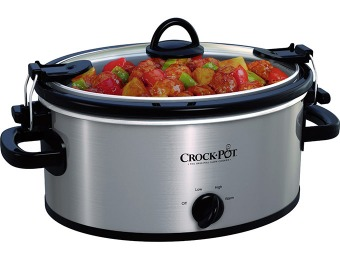 50% off Crock-Pot 4-Quart Oval Slow Cooker (Stainless-Steel)