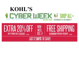 Extra 20% off + Free Shipping at Kohls.com