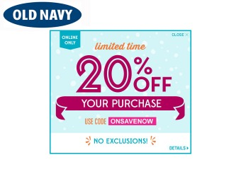 Extra 20% off Your Purchase at Old Navy