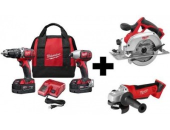 $188 off Milwaukee M18 Lithium-Ion 4-Tool Combo Kit
