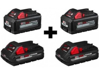$199 off Milwaukee M18 High Output 6Ah and 3Ah Battery (4-Pk)