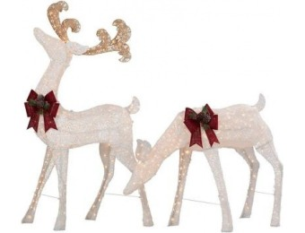 "90% off Holiday 7.5' Pre-Lit Standing Deer and 54"" Doe"