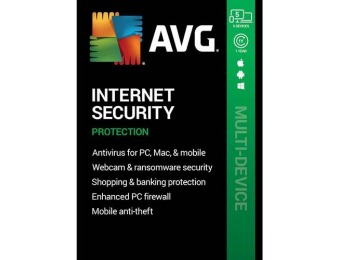 84% off AVG Internet Security (5 Devices) - Android|Mac|Windows
