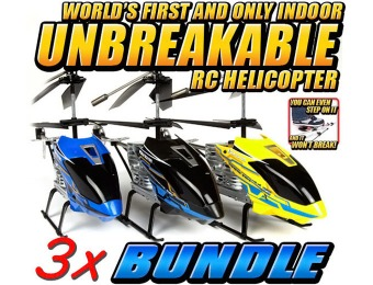 $54 off Nano Hercules Unbreakable 3.5CH RC Helicopter 3-Pack Bundle