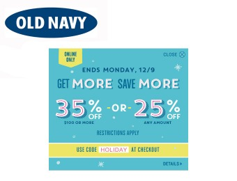 Extra 35% off orders of $100+ at Old Navy or 25% off Any Amount