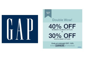 40% off Adult Purchases & 30% off Kid's Purchases at Gap.com