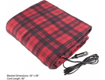 $15 off Electric Car Blanket - Heated 12 Volt Fleece Travel Throw