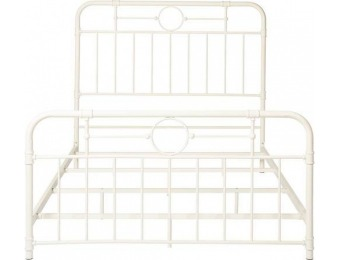"$80 off Walker Edison 63"" Queen-Size Pipe Bed Frame - Antique White"