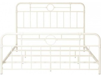 "$100 off Walker Edison 79"" King-Size Pipe Bed Frame - Antique White"