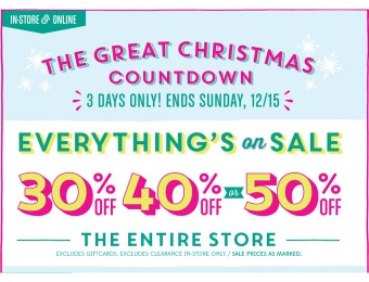 Save 30%, 40% or 50% off Everything at Old Navy