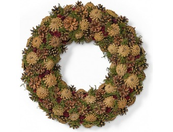 "$20 off 18.5"" Pine Cone Artificial Christmas Wreath"