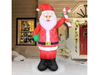 $30 off 7' Inflatable Swirling Lights Santa with Candy Cane