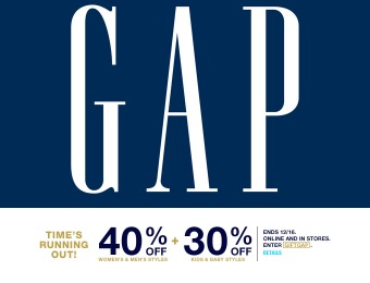 40% off Adult Purchases & 30% off Kid's & Baby Purchases at Gap.com