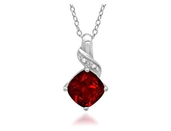 $50 off 2.5 Cttw. Sterling Silver Created Ruby & Diamond Pendant