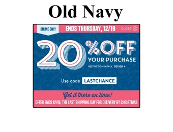 Extra 20% off Your Entire Purchase at Old Navy