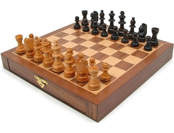 48% off Inlaid Walnut Magnetized Staunton Wood Chess Set