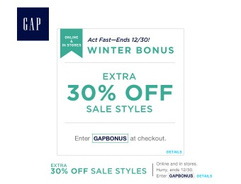 Save an Extra 30% off Sale Styles at Gap.com