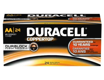 $25 off Duracell Coppertop Alkaline AA, 24/Pack
