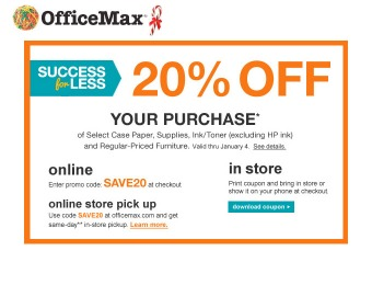 Extra 20% off Select Paper, Supplies, Ink & More at OfficeMax