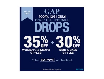 35% off Men's & Women's Styles, 30% off Kids & Baby Styles at Gap
