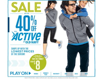 Up to 40% off Active Clothing at Old Navy