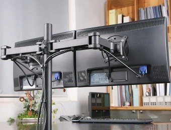66% off Vivo Heavy Duty Adjustable Dual LCD Monitor Desk Mount