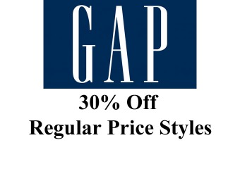 Save 30% Regular Priced Items at Gap.com
