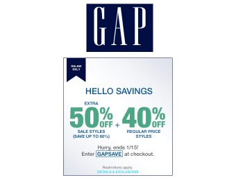 Extra 50% off Sale Styles & 40% off Regular Price Styles at Gap.com