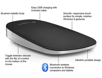 52% off Logitech Ultrathin Touch Mouse T630, Win 8 Touch Gestures