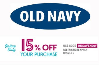 Extra 15% off Your Entire Online Purchase at Old Navy