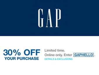 Extra 30% off Your Online Purchase at Gap.com