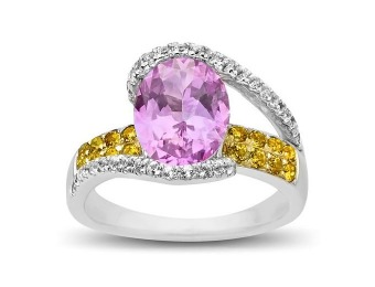 76% off Pink, White, and Honey Topaz Ring in Sterling Silver