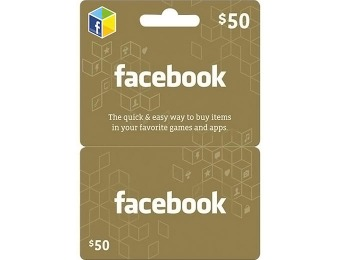 20% off $50 Facebook Gift Card for Facebook Games and Apps