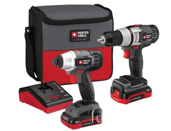 60% off Porter-Cable PCCK410L2 18-Volt Cordless Combo Kit