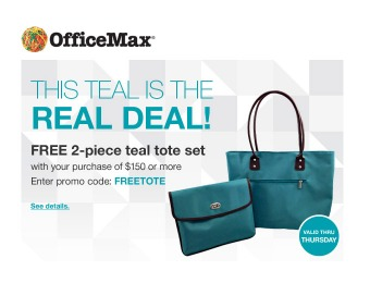 Free 2-Piece Tote Set with $150 Purchase at OfficeMax
