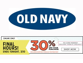 Extra 30% off Your Purchase at Old Navy