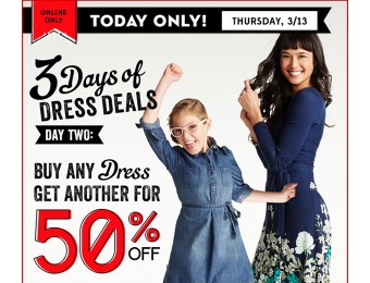 Buy one Dress, Get One 50% off at Old Navy