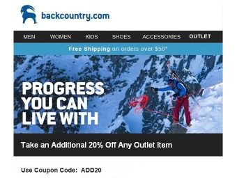 Extra 20% off at Backcountry - Last Day of Sale