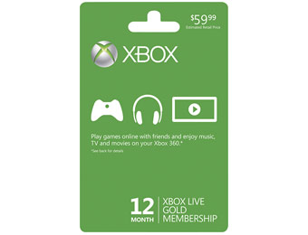 $25 Off Microsoft Xbox LIVE 12-Month Gold Membership