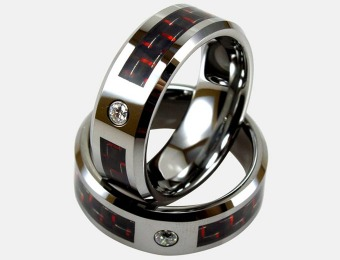 93% off Light Tungsten Ring W/ Red Carbon Fiber Inlay & CZ Stud